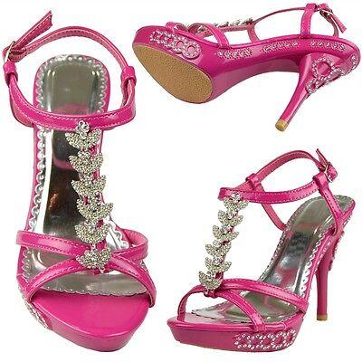 Strap High Heel (Womens High Heel Dress Sandals w/ T- Strap Rhinestones Fuchsia Size 5-10)