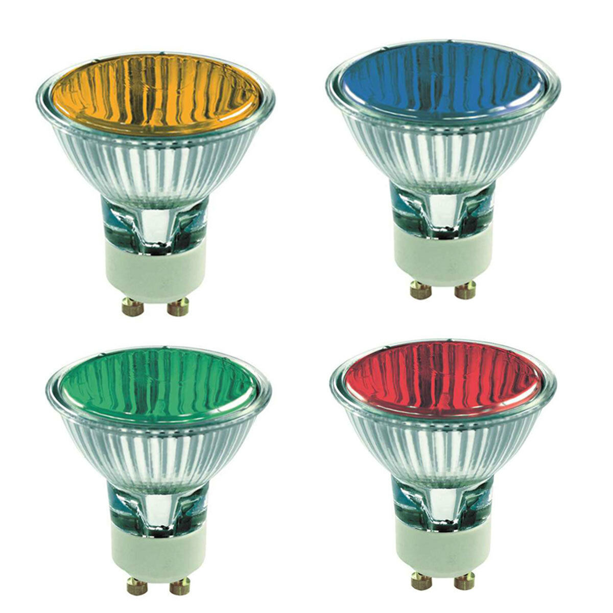 Coloured GU10 50w Halogen Light Bulbs RED, GREEN, BLUE ...
