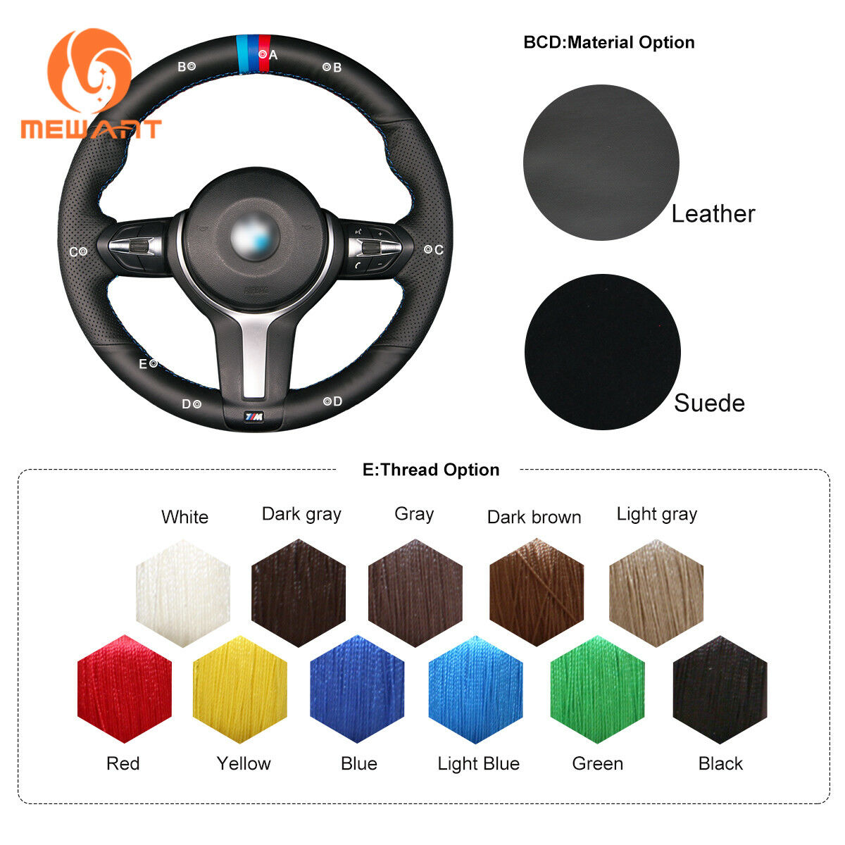 Leather Steering Wheel Cover For BMW F87 M2 F80 M3 F82 M4