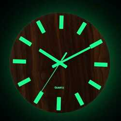 12 Inch Luminous Wall Clock Wood Silent Home Decor Quartz Wall Hanging Clock