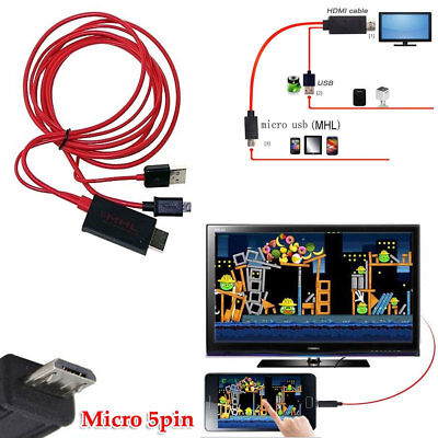 Used, 6ft 5pin MHL Micro USB to HDMI HDTV Cable for HTC EVO G14 G18 ONE X XL S Flyer for sale  Shipping to Nigeria