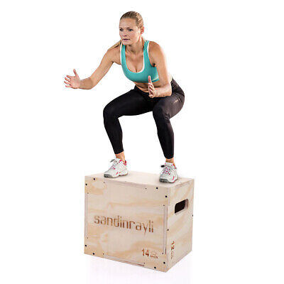 3 in 1 Wood Plyometric Box for Jump 16x12x14 Training Plyo Exercise Strength