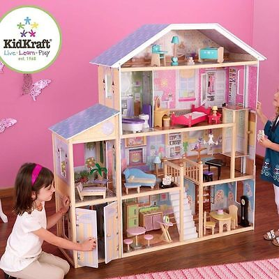 KIDKRAFT MAJESTIC LARGE DOLLHOUSE  DOLLS HOUSE WITH FURNITURE BRAND BARBIE BNIB