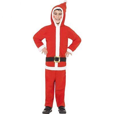 Child Santa Costume (Boys Santa Claus Costume Jumpsuit Childrens Kids Christmas Jump Suit S M L)