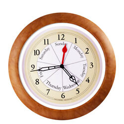 DayClocks CO-M-E Combination Day-of-the-Week Wall Clock with Maple Trim