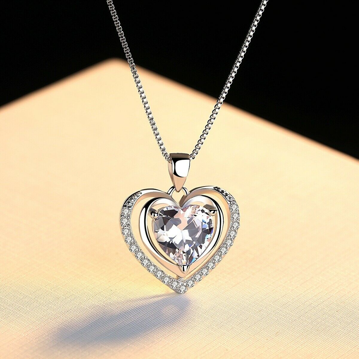 Jewellery - 925 Sterling Silver Double Heart Stone Chain Pendant Necklace Womens Jewellery