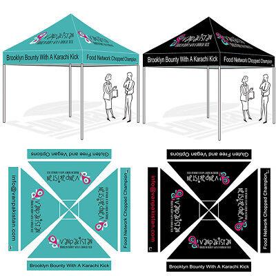 10'x10' Custom LOGO Printed Ez Pop Up Canopy Graphics Digital Trade Show Tent
