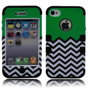Hybrid Chevron Rubber Rugged Combo Matte Case Hard Cover for iPhone 4G 4S + Film