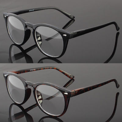 Bifocal Reading Glasses Retro Round Vintage Mens Womens Spring Temple (Mens Reading Glasses Round)