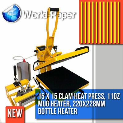 15x15 Heat Press 3 In 1 Combo T-shirt Machine Clamshell Digital Diy Printer