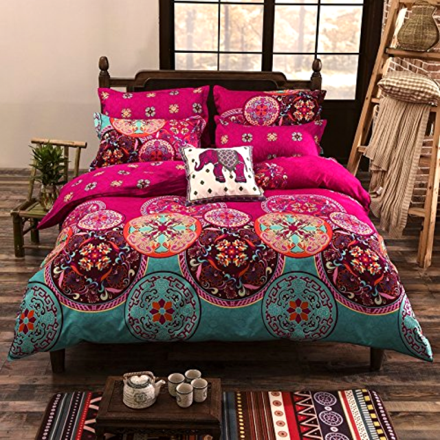 Lightweight Microfiber Duvet Cover Set 2 Pillwcases Bohemian Exotic King Size