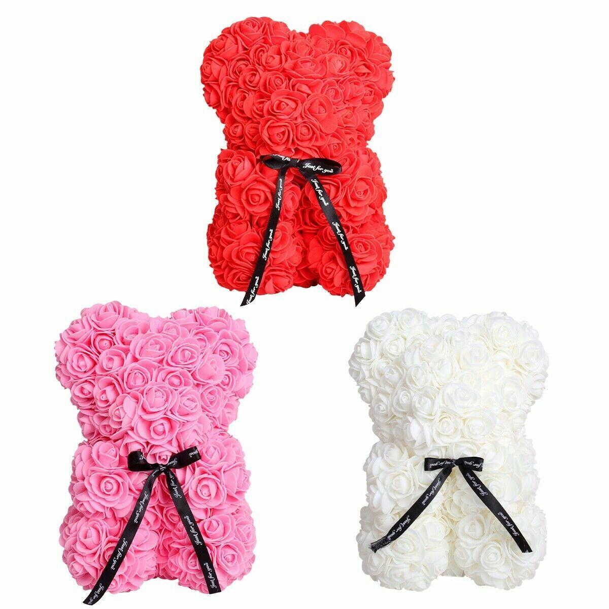 25cm Rose Flower Bear Teddy Birthday Valentine Wedding Party Kid Birthday Gift Holiday & Seasonal Décor