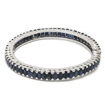 De Buman Natural Sapphire Sterling Silver Bangle Bracelet, 6.9 Inches