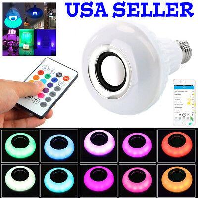 Bulb Speaker Bluetooth LED Light Music RGB Color Wireless E27 Remote 12W Lamp