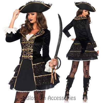 Seas Pirate Captain Womens Fancy Dress Up Halloween Costume (Halloween Pirate Dress Up)