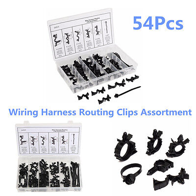 54 Pcs/Set Car Nylon Wiring Harness Routing Clips Assortment Convoluted Conduit