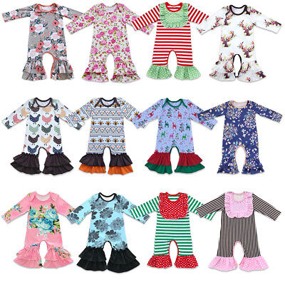 Icing Ruffle Jumpsuit Pants for Baby Toddler Girls Christmas Long Sleeve Pajamas - Christmas Pajamas For Toddler Girls