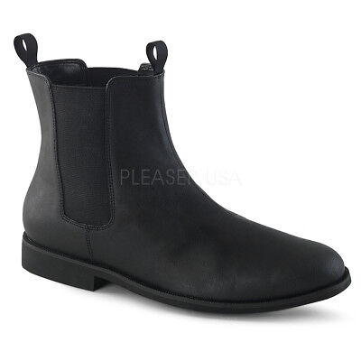 Black 60s Beatles Cosplay 70s Half Low Boots Mens Costume Shoes size 9 10 11 12 - Costume Boots Black