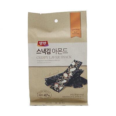 Almond Laver Snack(4 Packets), Korean Seaweed Snacks, Yaki nori, Almond Snacks