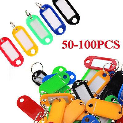 50-100PCS Tough Plastic Key Luggage Tags W/Split Ring Label Window Durable Parts Durable Plastic Key Tag