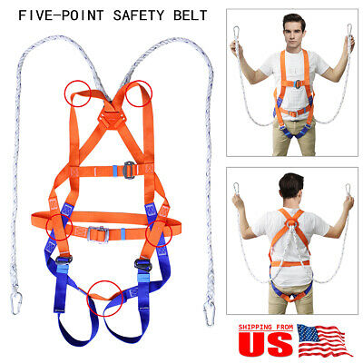 Fall Protection Safety Climbing Construction Roofing Harness Lanyard Seat Belt