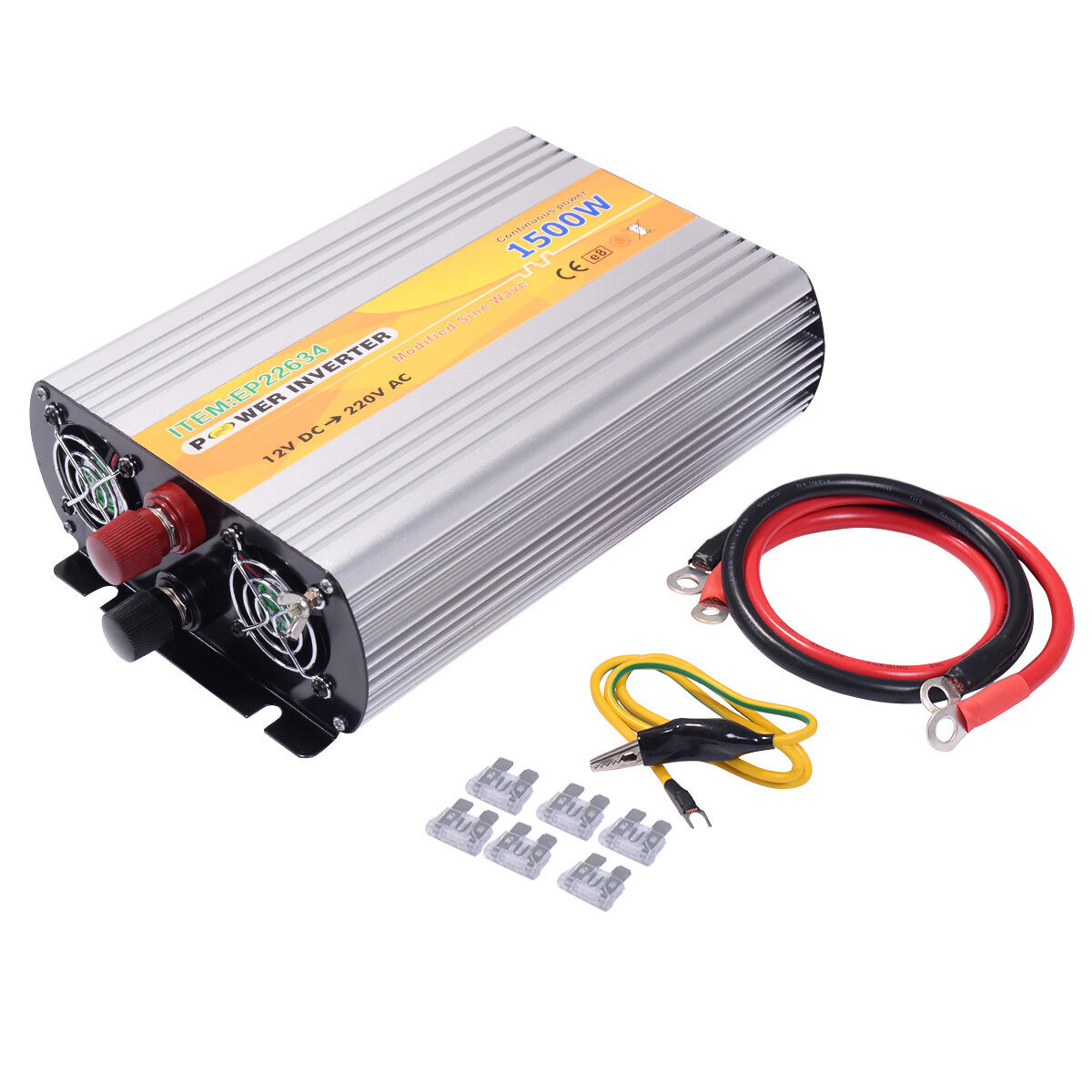 Spannungswandler 1500 3000W Inverter Welchselrichter Stromwandler 12V auf 220V