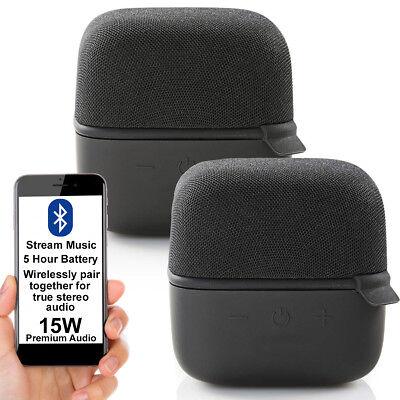 2x 15W Altavoz Bluetooth Kit -negro- Verdadero Estéreo Inalámbrico Portátil