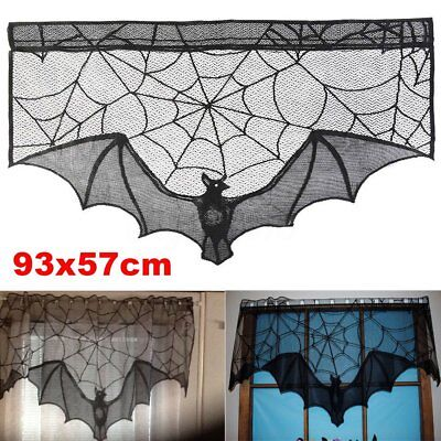 Halloween Bat Decoration (Black Lace Bat Halloween Props Party Scary Indoor Decorations Window)