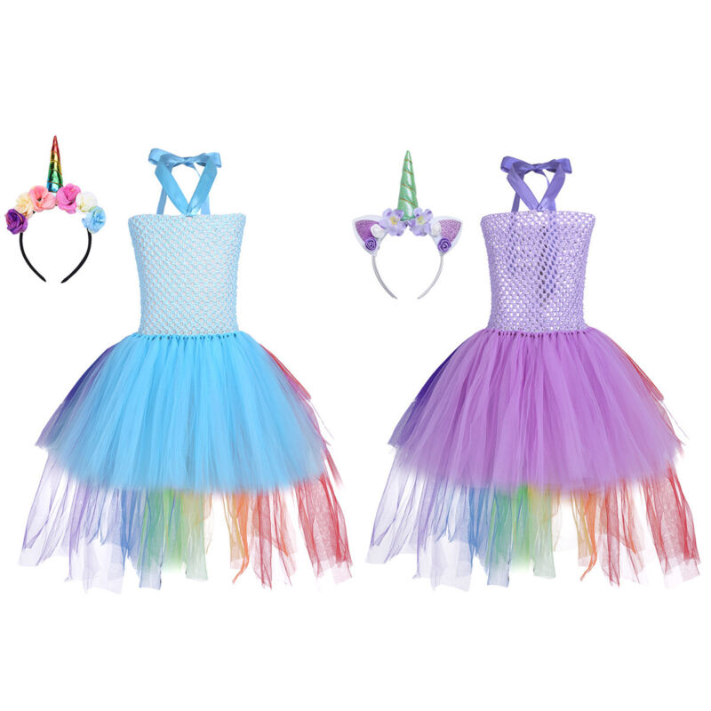Kids Girls Cartoon Princess Outfit Tutu Dress Rainbow Party Cosplay Costume Sets