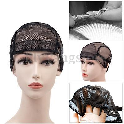 Wig Caps For Making Wigs Weft Stretch Lace Weaving Cap Adjustable Straps Black