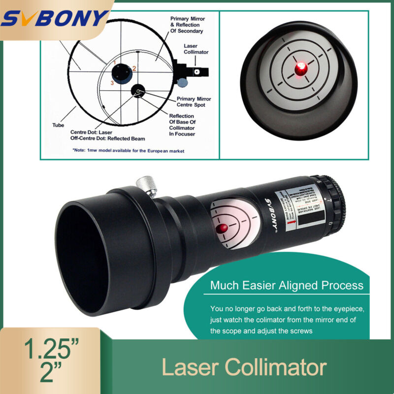 "SVBONY 7 Bright Level 1.25"" red Laser Collimator 2""Adaptor For Telescopes US NEW"