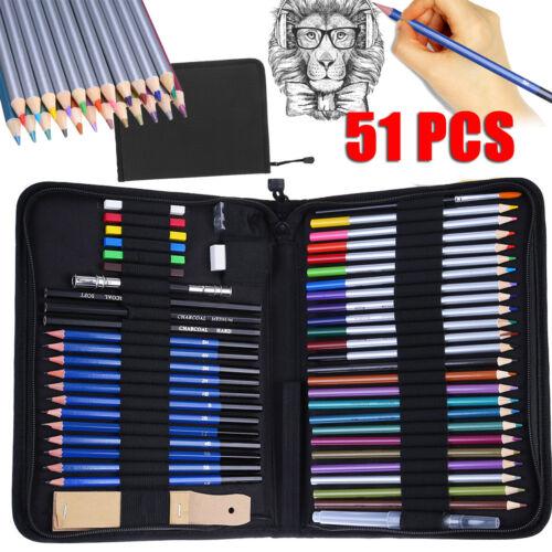 51pcs Art Tools Professional Drawing Artist Kit Set Pencils and Sketch Charcoal