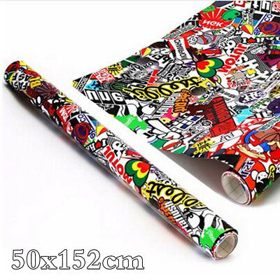 50x152cm Panda Cartoon Graffiti Sticker Car Body Bomb Wrap Sheet Decal Vinyl DIY