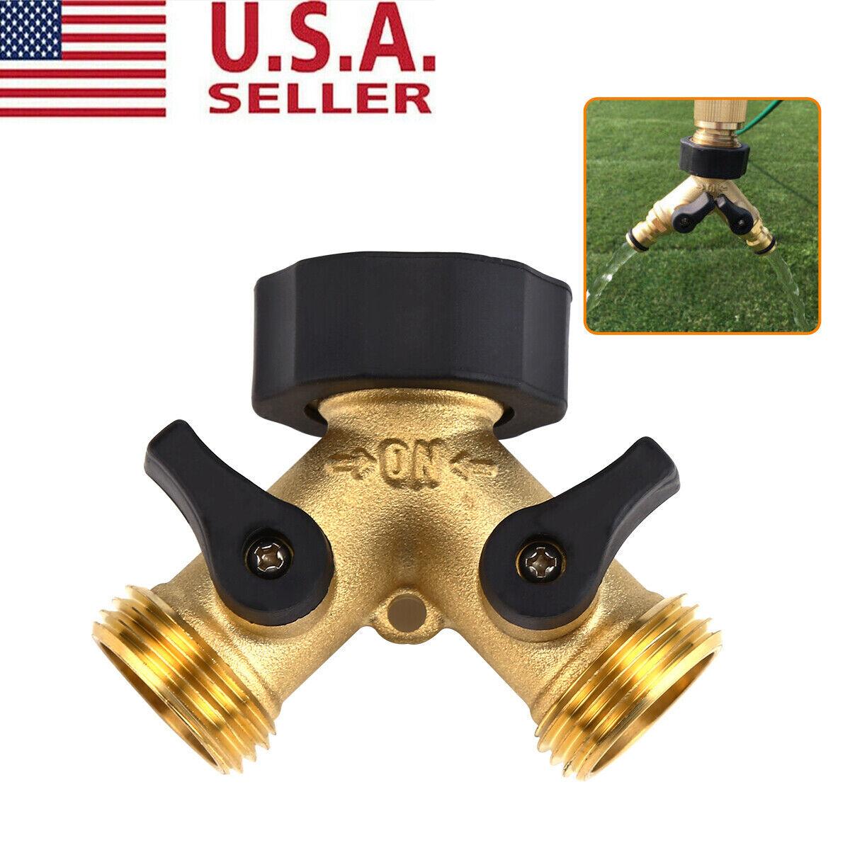 "Solid Brass 2-Way Double Outside Garden Tap Adaptor 3//4/"" Watering Multi-Purpose"