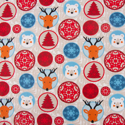 Dekostoff Weihnachten Kreise Eisbär Rentier Schneeflocken beige rot blau 1,60m
