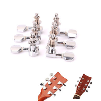 Acoustic Guitar String Button Tuning Pegs Chrome-plated Locked Tuner Knob Silver