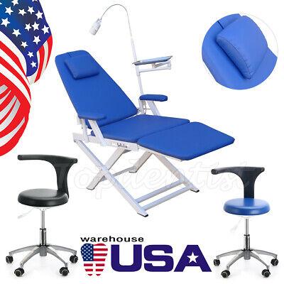 Dental Led Oral Light Folding Chair Adjustable Mobile Stools Chair With Backrest