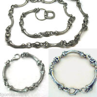 Quality Pirate Bone Skull Pewter Necklace Bracelet Belt Chain Chunky Rock Punk -  - ebay.co.uk