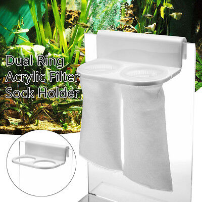 White Acrylic Double Aquarium Filter Sock Holder Rack Stand Fish Tank Bracket