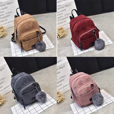 US Women Mini Corduroy Backpack School Bags Travel Handbag Shoulder Bag -