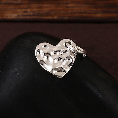- 10 SILVER Hammered Metal HEART Sequin Charms, Flat Dot Charms, 14mm chs3416