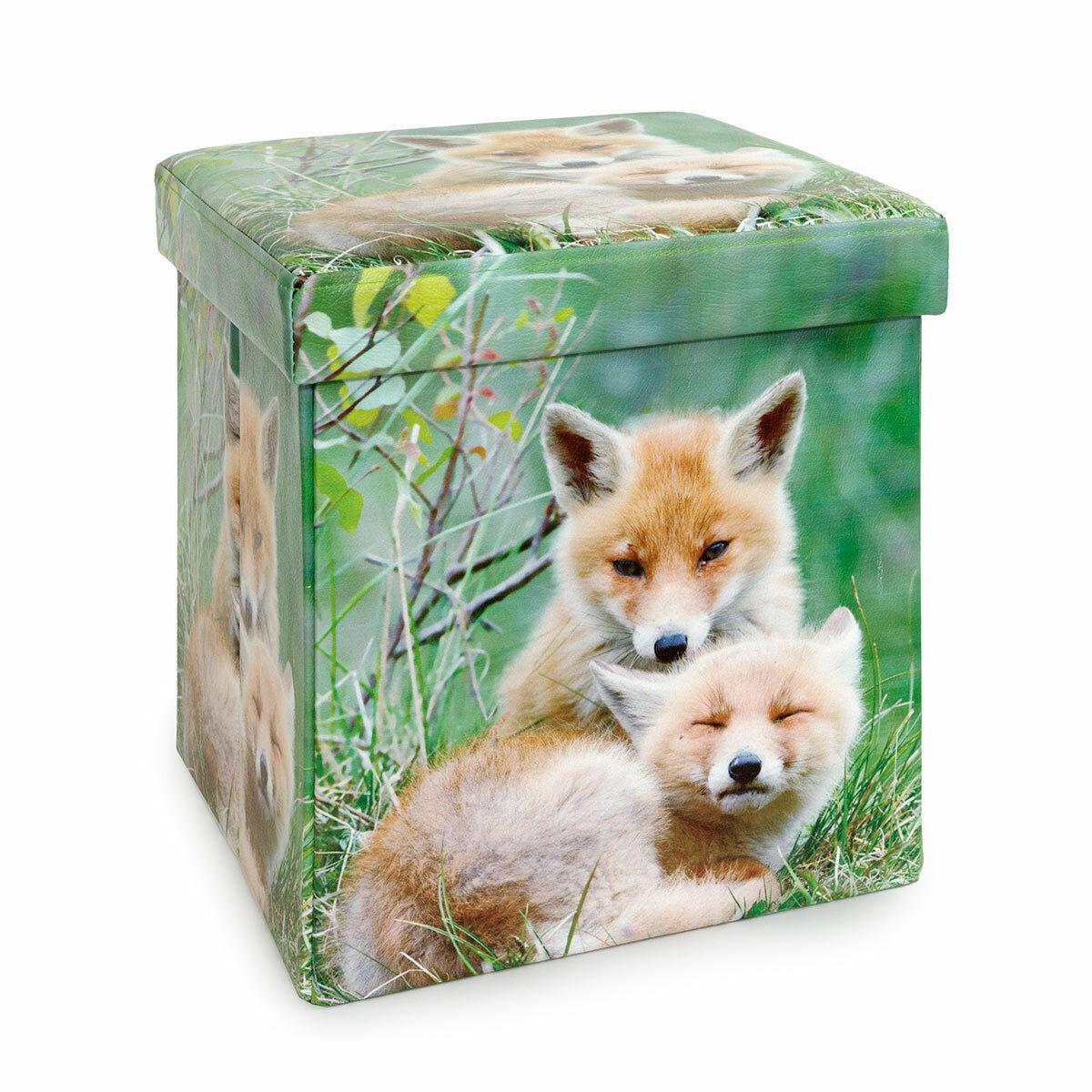 Pouf In Cotone Effetto Maglia dettagli su cubo contenitore pouf stampato foxes di daunex t445