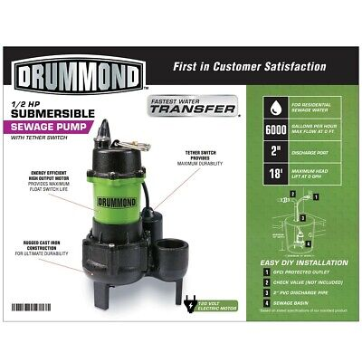 Drummond 12 Hp Submersible Sewage Pump With Tether Switch