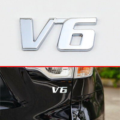 Chrome Metal Decal Sticker 3D V6 Logo Emblem Badge Decorate For All  Model Auto