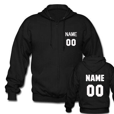 - Custom Men's Black Zipper Hoodies - Personalized Team Name Number Mens Jacket