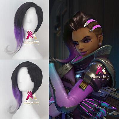 Overwatch Sombra Multi Color Short Wavy Girl Game Cosplay Halloween Wig