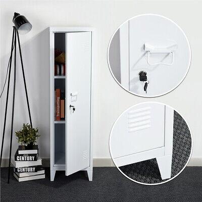 White Metal Cabinet Locker W Shelves Lockable Storage Closet Home Office 54.1