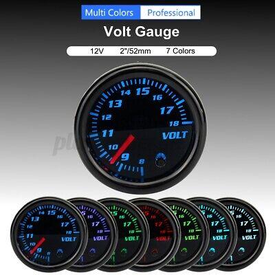 8-18V 2'' 52mm Universal Car 7 Color LED Volt Voltmeter Voltage Gauge Meter  ^^