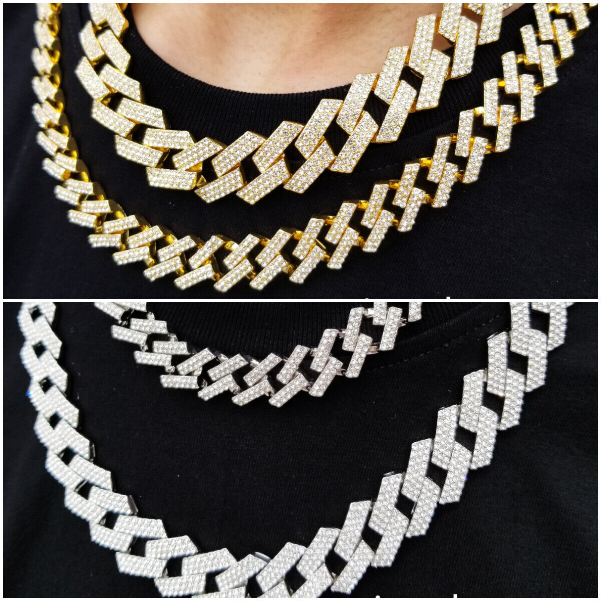 Mens Gold Silver Plated Miami Cuban Choker Chain Necklace