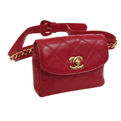 CHANEL Cosmos Line CC Logos Chain Waist Bum Bag Red Leather Vintage AK35572j